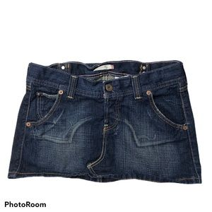 Levi's Button Fly Distressed Denim Mini Skirt